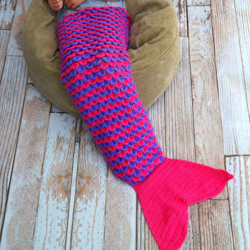 Mermaid Tail Blanket - Pink and Purple Lap Blanket - Mermaid Lapghan - Cozy Novelty Blanket - Fish Tail Blanket - Girl Snuggle Blanket
