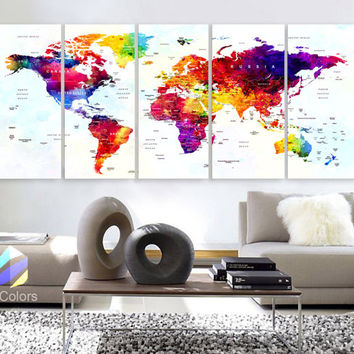 "XLARGE 30""x 70"" 5 Panels Art Canvas Print World Map Original Watercolor Push Pin Travel cities Wall  Home Office decor (framed 1.5"" depth)"