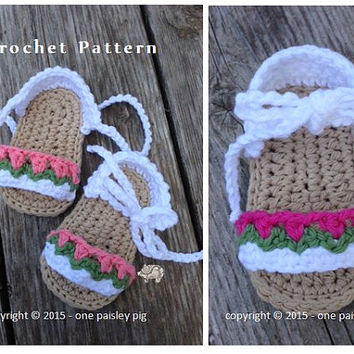 Baby Sandals - Tiptoe Through the Tulips - PDF CROCHET PATTERN