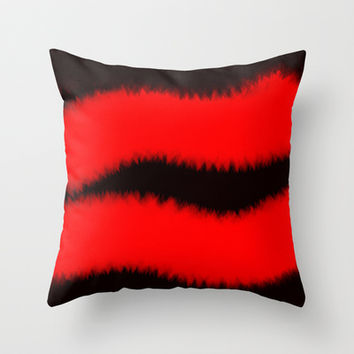 Furry Hot Lips Throw Pillow by James Eye