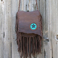 Gypsy crossbody purse with beaded turtle totem Handmade leather crossbody bag with lots of fringe Designer handbag