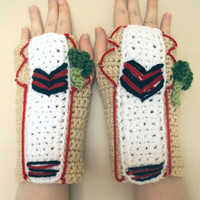 Crocheted Doctor Who Inspired Fifth Doctor / Peter Davison Fingerless Gloves / Wrist Warmers - Women's