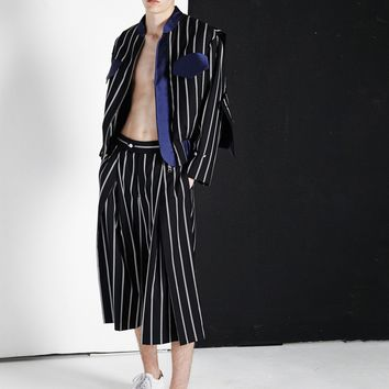 Pinstripe Jacket with Cape