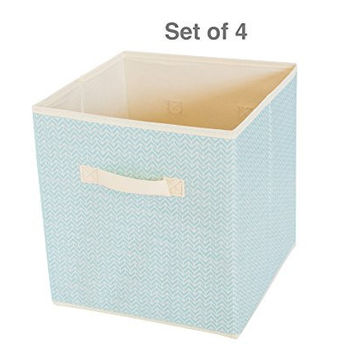 Square Storage Cube Fabric Basket (Set of 6) - Grey