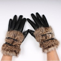 new 2014faux Rabbit fur hasp fur fashion short design women's leather gloves winter thickening gloves (Color: Black) = 1932679876