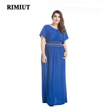 2017 Summer Rayon Soft Cool Women Big Plus Size Fat MM Long Ankle Length Dress 6XL 7XL Bohemian Lady Casual Dresses Party Wear