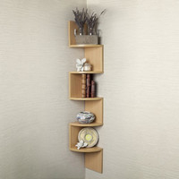Danya B. Corner Zig Zag Wall Shelf, Light Beige