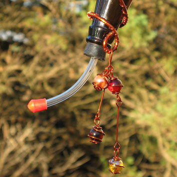 Hummingbird Feeder with Recycled Amber Blue Glass Bottle & Copper Wrapped Glass Marbles