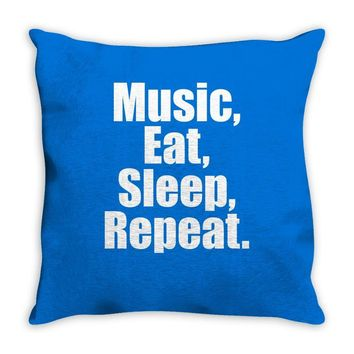 Music Eat Sleep Repeat Throw Pillow