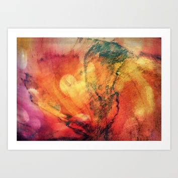 A leaf In The Wood Aflame Abstract Art Print by minx267