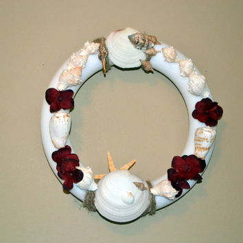Seashell Wreath With Maroon Flowers 7inches Beach Home Decor Table Center Piece