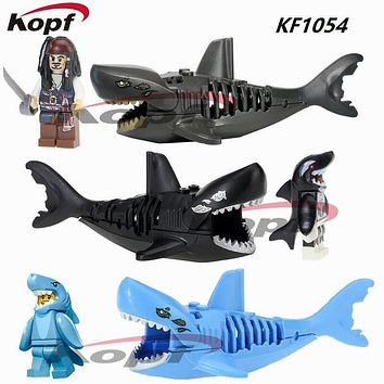 Super Heroes Pirates of the Caribbean Ghost Zombie Blue Shark Suit Guy Jack Sparrow Orca Building Blocks Toys Kids Gift KF1054