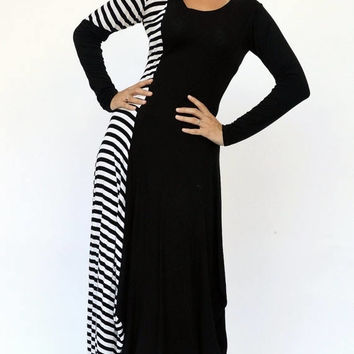GREEN SALE 15% OFF Striped Maxi Dress Tdk141, Viscose Maxi Dress, Black and White Dress with Stripes