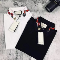GUCCI Neck Snake Trending Women Men Tee Shirt Full Color Lapel Top B-LFL-WX6H Black/White