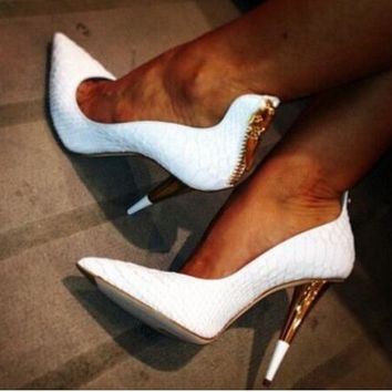 Full Design Hot Sexy Spike Heels Pump Women Back Zipper Charms Shoes Pointed Toe Shallow Pumps Zapaotos Mujer Wedding Shoes