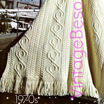 Knitting PATTERN Vintage - Limerick Afghan - 1970s Vintage Irish Fisherman Afghan Pattern - Vintage Beso Instant Download  PDF