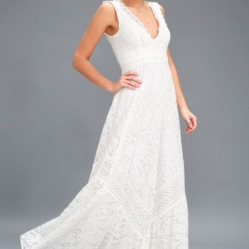 Melia White Lace Maxi Dress