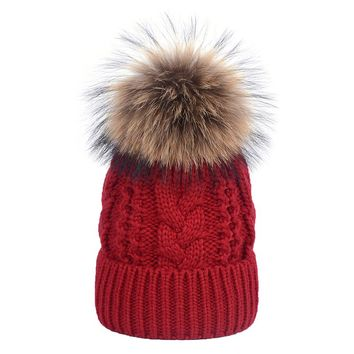 Cable Twist Pattern Natural 15cm Raccoon Fur pompom Knitted Beanies Cap New Winter Women Warm Hats With Fur Ball