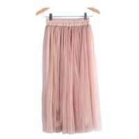 Skirt Ladies Elegant Casual High Waist Pleated Skirt Long Tulle Skirts Straight Skirts Solid Mesh Skater Skirt