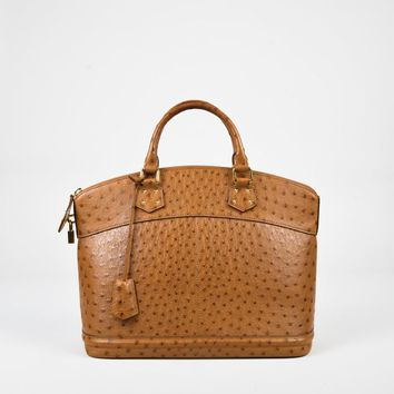 Tagre™ Louis Vuitton Tan Brown Ostrich Lockit MM Satchel Bag,beautiful leather handbag Nove