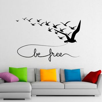 Flying Birds Wall Decal Be Free Vinyl Stickers Animals Interior Design Art Murals Housewares Bedroom Wall Decor Made in US