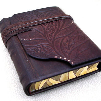 Leather Journal, Handbound Blank Book, Brown Rustic Embossed Leather, Sketchbook, Painted Edges