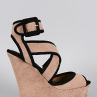 Women's Qupid Simple Strappy Caged Wedge