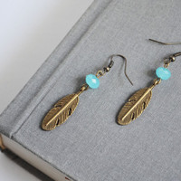 Tribal Feather Earrings. Native American Inspired Jewelry. Hippie Feather Blue Stone Jewelry