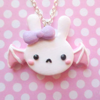 Pastel Fairy Kei Bat Bunny Necklace