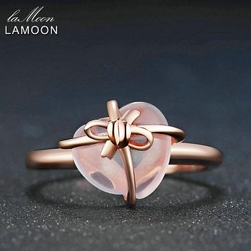 LAMOON Romantic Pink Heart Natural Gemstone Rose Quartz 925 Sterling Silver Jewelry Wedding Rings For Women
