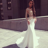 Long Sleeve Applique Mermaid Prom Dresses