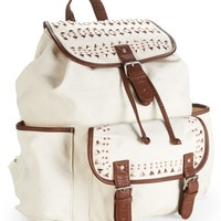 Metal-Studded Canvas Backpack