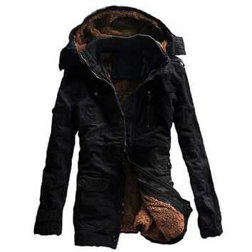Trendy Winter Jacket Men Casual Thick velvet Warm Jackets Parkas hombre Mens cotton Windbreaker army Hooded jacket long trench coat AT_94_13