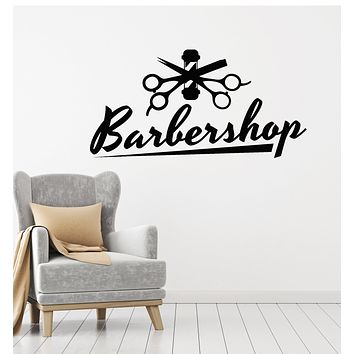 Vinyl Wall Decal Barbershop Haircuts And Shaves Scissors Hair Salon Stickers Mural (g1533)