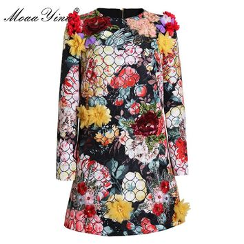 MoaaYina Fashion Designer Runway Dress Spring Women Long sleeve Applique Beading Sequin Embroidery Floral Sexy Elegant Dress