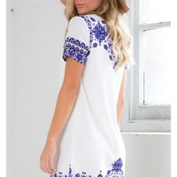 China Doll Shift Dress in White Print