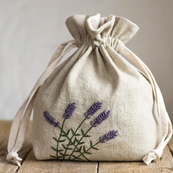 Natural Linen and Cotton Drawstring Bag with Hand Embroidered Lavender Flowers, French Country Storage, Rustic Home Decor