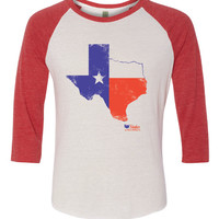 Texas State Flag in State Baseball T Shirt