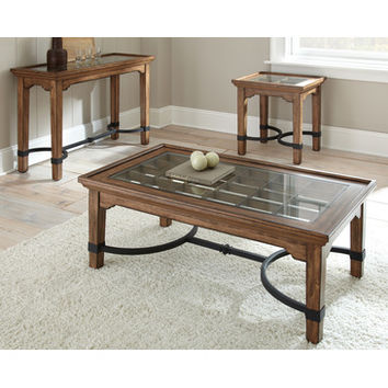 Steve Silver Levante 3 Piece Coffee Table Set w/ Glass Insert