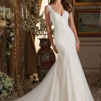 Blu by Mori Lee 5464 Tank Lace Fit & Flare Wedding Dress