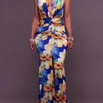Blue Floral Print Mermaid Front Slit Prom Evening Party Plunging Neckline Maxi Dresses