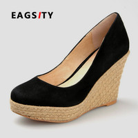 2017 spring high quality rope sole spring autumn pink black flock suede women wedges platform high heel shoes office lady shoes