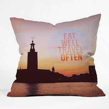 Happee Monkee Eat Well Travel Often Throw Pillow
