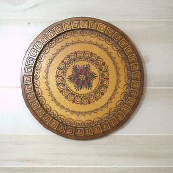 Large Decorative Wall Plate, Vintage Wood Burned Pyrography Plate,  Moroccan Wall Plate