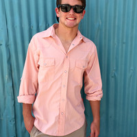 Southern Proper Long Sleeve Fishing Shirt- Peach- FINAL SALE