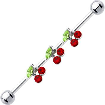 14 Gauge Cubic Zirconia Cherry Trio Industrial Barbell 37mm