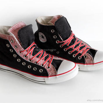 Dark denim and candy stripe Converse high tops, Converse All Star, vintage slip-ons, red & blue, size eu 42.5 (UK 9, US mens 9, US wo's 11)