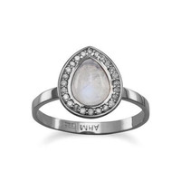 Midnight Collection Moonstone Halo Ring With Gray Diamonds