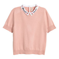 Fine-knit Top with Collar - from H&M
