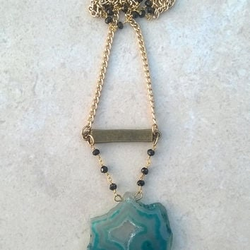 Aqua / Teal Druzy Agate Necklace || Mineral Necklace || Rosary Chain || Druzy Pendant